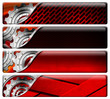 Four Industrial Red and Metal Headers