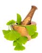 Ginkgoblätter in Holzmörser auf weißem Hintergrund
