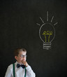Thinking boy business man with bright idea chalk lightbulb