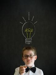 Education needs you businessman boy bright idea chalk lightbulb
