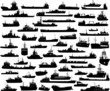 Set of 55 silhouettes of sea yachts, towboat and the ships