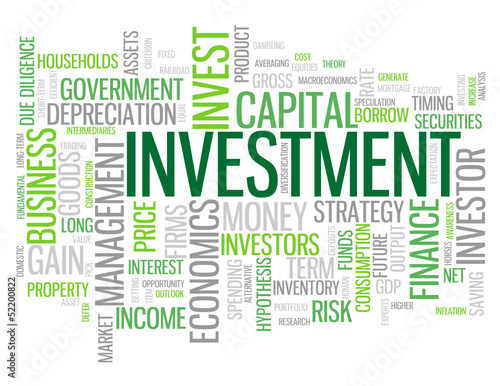 """INVESTMENT"" Tag Cloud (money finance cash bank profit business)"