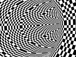 Black and white hypnotic tunnel
