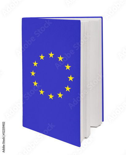 Concept. Book with the EU flag