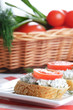 Cottage cheese bruschettas and vegetable basket