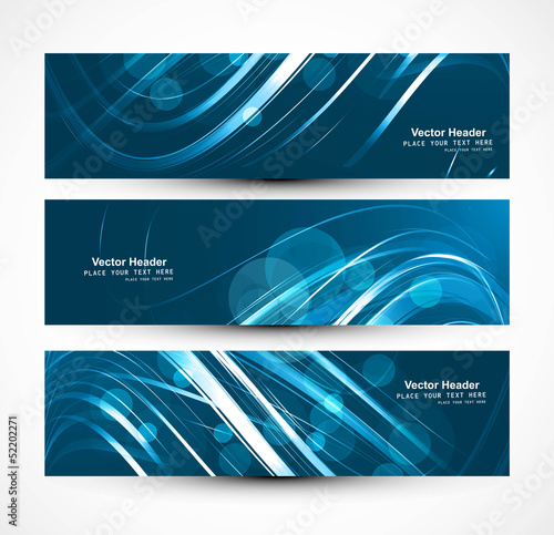 Abstract business header bright colorful blue wave whit vector