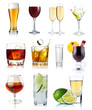 Quadro Set of alcohol drinks in glasses isolated on white