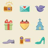 Wedding color icon set