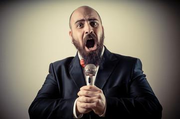 funny elegant singer bearded