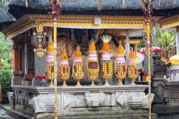 Hindu food offering in a Tampak Siring temple, Bali