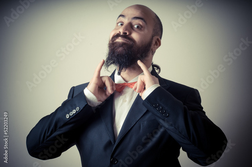 funny elegant bearded man
