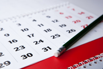calendar and pencil close-up