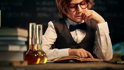 Old-Fashioned Schoolboy Reading