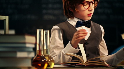 Old-Fashioned Schoolboy Reading