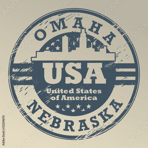 Grunge rubber stamp with name of Nebraska, Omaha, vector