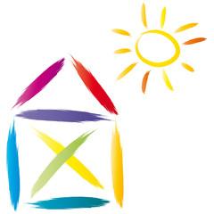 Haus mit Sonne - Strichzeichnung