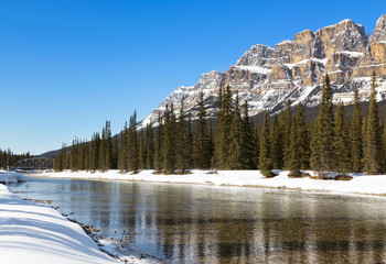 Bow River and Castle Mountain Banff Canada