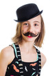 young girl with fake mustache