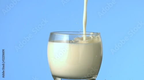 Milk being poured into glass