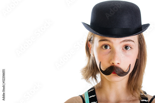 child wearing fake mustache and a bowler hat