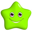 3d cartoon cute green star
