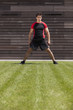 Athlete male on the grass