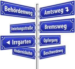 Straßenschilder Behörden, Amtswege ( deutsch )