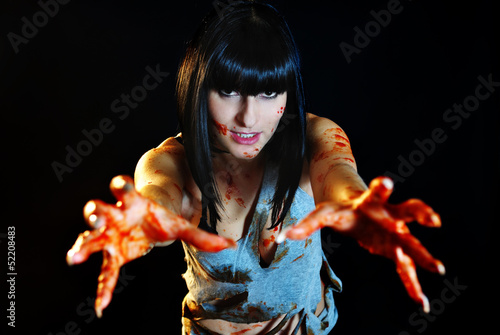 Girl with bloody hands