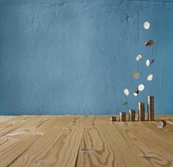 money rain on a vintage background
