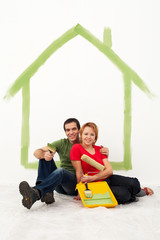 Young couple redecorating their first home