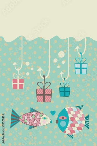 Happy fish, present boxes and space for your text