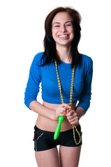 Sports girl with skipping rope