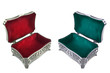 Jewelry box with red and green velvet inner side
