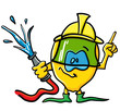 Funny cartoon lemon  is a firefighter