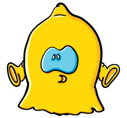 Funny cartoon lemon  is a ghost