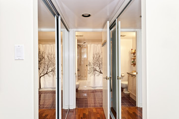 Mirrored closets and bathroom