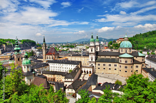 Salzburg, view of old town and cathedrals