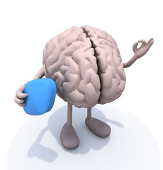 brain with big blue pill on hand