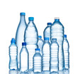 canvas print picture - Many water bottles isolated on white