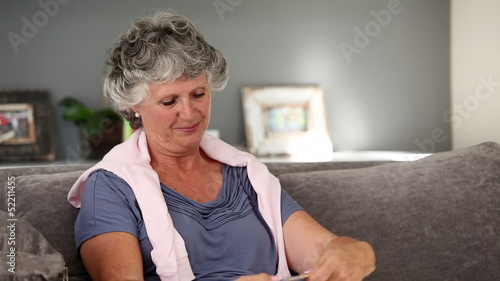 Mature woman knitting