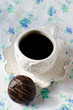 A Cup of coffee with chocolate candy