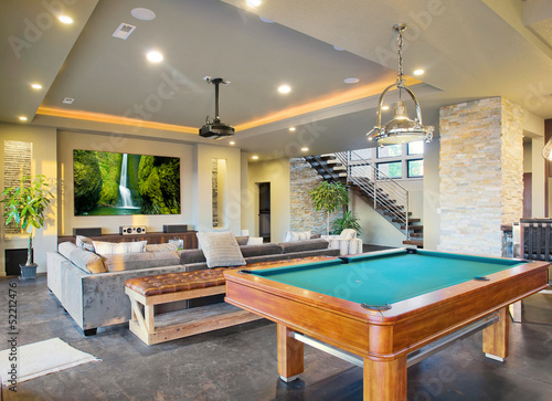 Entertainment Room with Pool Table in New Home