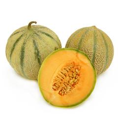 deux melons et un demi fond blanc
