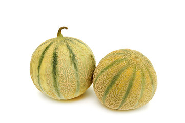 2 melons entiers fond blanc 1