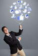 Attractive man holding social icon balloon