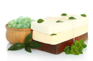 Spa composition of handmade soap, leaves and salt