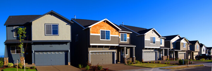 Panorama of New Homes in Suburban Neighborhood