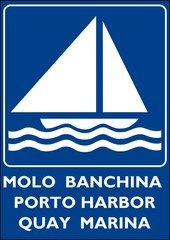 CARTELLO INDICATORE BANCHINA MOLO PORTO