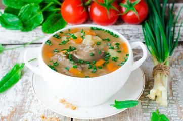 Mushroom soup with buckwheat
