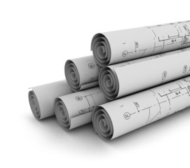 construction plan in rolls isolated